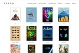 Screenshot Pixar Website