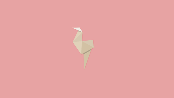 Wallpaper Origami Flamingo